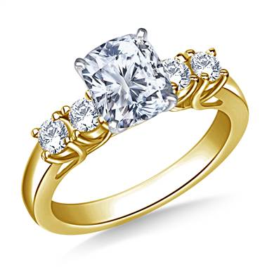 Trellis Diamond Engagement Ring with Four Side Diamonds in 14K Yellow Gold (3/8 cttw.)