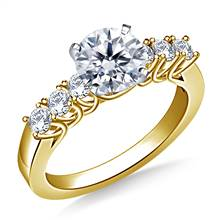 Trellis Diamond Engagement Ring with Six Side Diamonds in 14K Yellow Gold (3/8 cttw.) | B2C Jewels