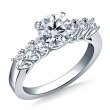 Trellis Diamond Engagement Ring with Six Side Diamonds in 18K White Gold (3/8 cttw.) | B2C Jewels