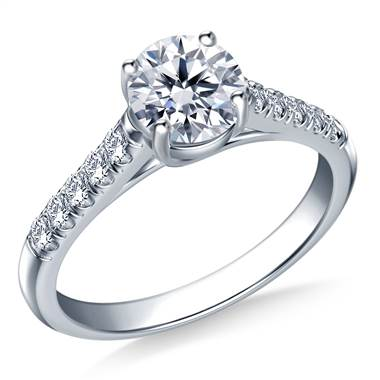 Trellis Round Solitaire with Diamond Accent Engagement Ring In 14K White Gold