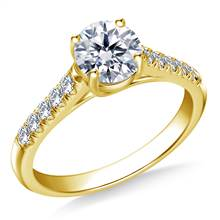 Trellis Round Solitaire with Diamond Accent Engagement Ring In 14K Yellow Gold | B2C Jewels