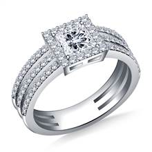 Tri Band Halo Princess Cut Diamond Engagement Ring in 18K White Gold | B2C Jewels