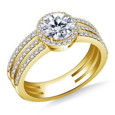 Tri Band Halo Round Diamond Engagement Ring in 14K Yellow Gold