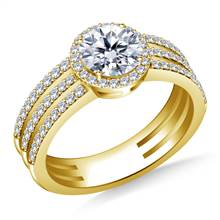 Tri Band Halo Round Diamond Engagement Ring in 18K Yellow Gold | B2C Jewels
