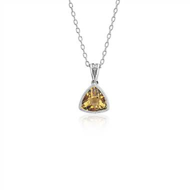 """Trillion Citrine Pendant with Milgrain Detail in 14k White Gold (7mm)"""