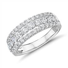 Triple Row Diamond Fashion Ring in 14k White Gold (1 ct. tw.) | Blue Nile