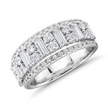 Triple Row Emerald-Cut Fashion Ring in 14k White Gold (1 2/5 ct. tw.)   Blue Nile