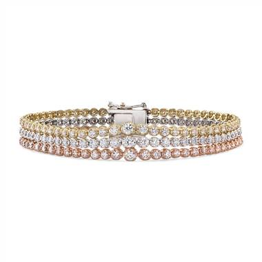 Triple Row Graduated Diamond Tennis Bracelet in 14k White, Yellow and Rose Gold (4 ct. tw.)