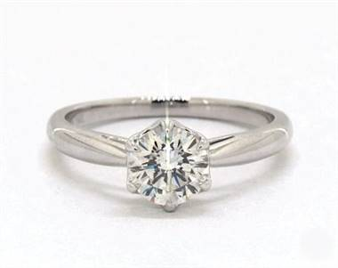 Tulip Basket Solitaire Engagement Ring in 14K White Gold 2.4mm Width Band (Setting Price)