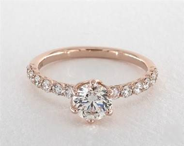 Tulip-Inspired Scallop Pave .42ctw Engagement Ring in 14K Rose Gold 2.1mm Width Band (Setting Price)