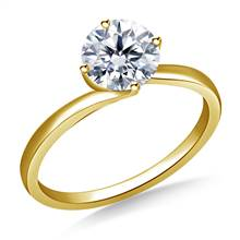 Twist Prong Set Solitaire Engagement Ring in 14K Yellow Gold | B2C Jewels