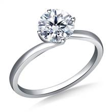 Twist Prong Set Solitaire Engagement Ring in 18K White Gold | B2C Jewels