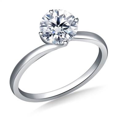 Twist Prong Set Solitaire Engagement Ring in Platinum