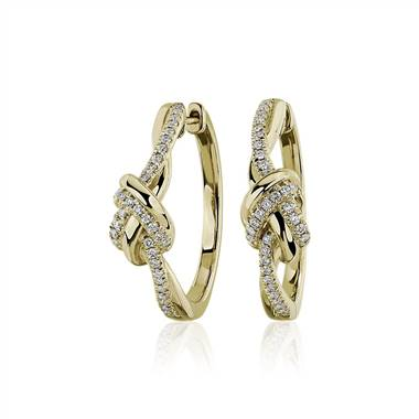 """Twisted Knot Hoop Earrings in 14kt Yellow Gold (1/3 ct. tw.)"""