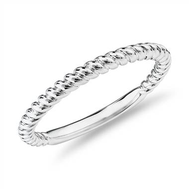 """Twisted Roped Wedding Ring in 14k White Gold"""
