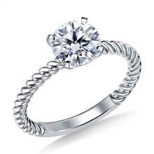 Twisted Spiral Solitaire Diamond Engagement Ring in 18K White Gold (2.0 mm) | B2C Jewels