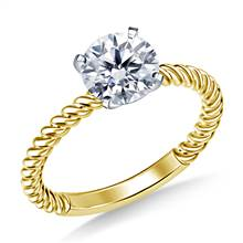 Twisted Spiral Solitaire Diamond Engagement Ring in 18K Yellow Gold (2.0 mm) | B2C Jewels
