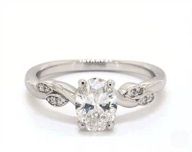Twisted Vine Marquise Side-Stone Engagement Ring in Platinum 2.2mm Width Band (Setting Price)