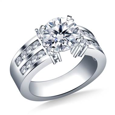 Two Row Channel Set Diamond Engagement Ring in 14K White Gold (1.00 cttw.)