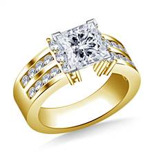 Two Row Channel Set Diamond Engagement Ring in 14K Yellow Gold (1.00 cttw.) | B2C Jewels