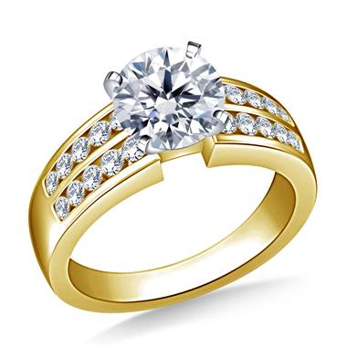 Two Row Channel Set Diamond Engagement  Ring In 14K Yellow Gold (5/8 cttw.)