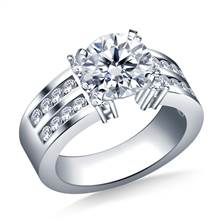 Two Row Channel Set Diamond Engagement Ring in 18K White Gold (1.00 cttw.) | B2C Jewels