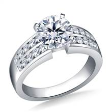 Two Row Channel Set Diamond Engagement  Ring In 18K White Gold (5/8 cttw.) | B2C Jewels