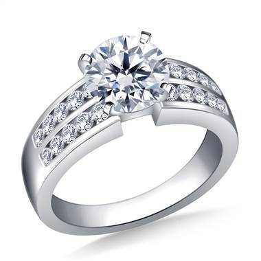 Two Row Channel Set Diamond Engagement  Ring In Platinum (5/8 cttw.)