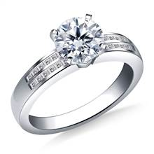 Two Row Channel Set Princess Cut Diamond Engagement Ring in 18K White Gold (1/4 cttw.) | B2C Jewels
