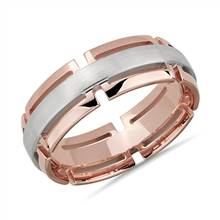 Two-Tone Modern Link Edge Wedding Ring in 14k White and Rose Gold (7mm) | Blue Nile
