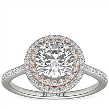 Two-Tone Petite Double Halo Engagement Ring in 14k White and Rose Gold (3/8 ct. tw.)