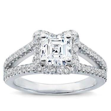 V Halo Engagement Ring For Square Diamond
