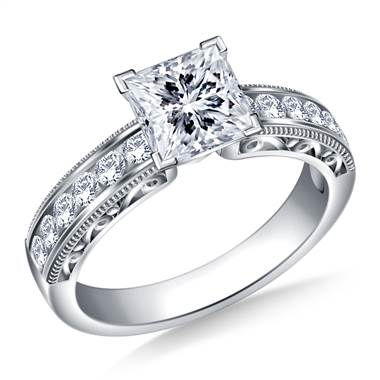 Vintage Channel Set Round Diamond Engagement Ring in 14K White Gold (1/3 cttw.)