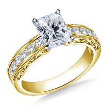 Vintage Channel Set Round Diamond Engagement Ring in 14K Yellow Gold (1/3 cttw.)   B2C Jewels