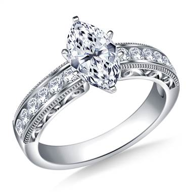 Vintage Channel Set Round Diamond Engagement Ring in 18K White Gold (1/3 cttw.)