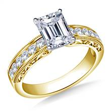 Vintage Channel Set Round Diamond Engagement Ring in 18K Yellow Gold (1/3 cttw.)   B2C Jewels
