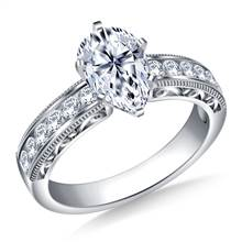 Vintage Channel Set Round Diamond Engagement Ring in Platinum (1/3 cttw.) | B2C Jewels