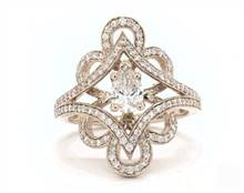 Vintage Floral & Open Split Pave Engagement Ring in 18K White Gold 2.5mm Width Band (Setting Price)   James Allen