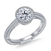 Vintage Halo Round Diamond Engagement Ring in 18K White Gold | B2C Jewels