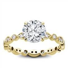 Vintage Leaf Diamond Eternity Engagement Setting | Adiamor