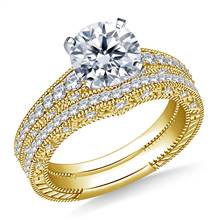Vintage Milgrain Diamond Engagement Ring with Matching Band in 14K Yellow Gold (3/4 cttw.) | B2C Jewels