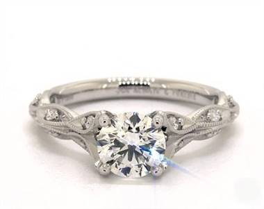 Vintage Milgrain Navette Diamond Pave Engagement Ring in Platinum 4mm Width Band (Setting Price)
