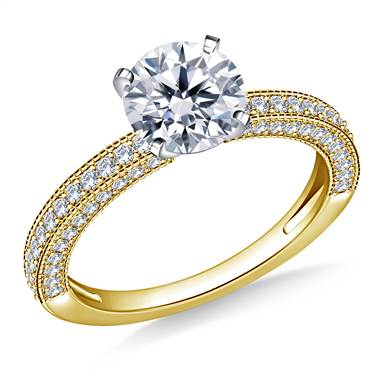 Vintage Pave Set Diamond Engagement Ring in 14K Yellow Gold (5/8 cttw)