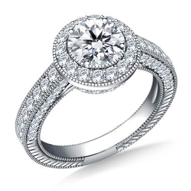 Vintage Style Halo Diamond Engagement Ring in 14K White Gold