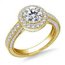Vintage Style Halo Diamond Engagement Ring in 18K Yellow Gold | B2C Jewels