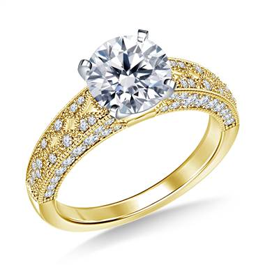 Vintage Style Pave Set Diamond Engagement Ring in 14K Yellow Gold (5/8 cttw.)