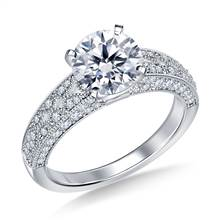 Vintage Style Pave Set Diamond Engagement Ring in 18K White Gold (5/8 cttw.) | B2C Jewels