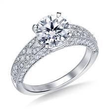 Vintage Style Pave Set Diamond Engagement Ring in Platinum (5/8 cttw.) | B2C Jewels