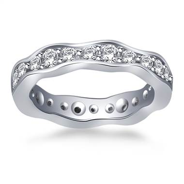 Wave Design Round Diamond Eternity Ring in 14K White Gold (0.88 - 0.99 cttw.)