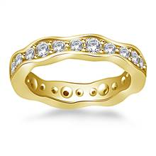 Wave Design Round Diamond Eternity Ring in 14K Yellow Gold (0.88 - 0.99 cttw.) | B2C Jewels